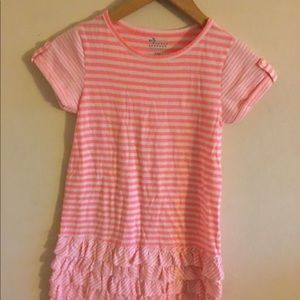 Pink and white striped dress with ruffles